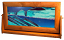 Moving Flowing Sand Picture XLarge Ocean Blue - Cherry Wood
