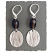 Etched Sterling Oval with Smoky Quartz Drop Earring