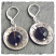 Textured sterling disc with smoky quartz drop earring. Sterling leverback hook. Made In USA