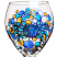Blue Crab With Bubbles Hand Painted Wine Glass
