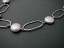 Sterling Oval and White Coin Pearl Necklace