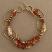 Bracelets - 14kt gold filled hammered links with carnelian and pearl bracelet