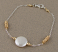 Sterling, 14kt goldfilled, white coin pearl bracelet