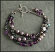 Sterling, peacock and lilac pearl multi strand bracelet