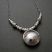 Sterling and Pearl Cupped Moon Pendant