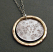 Hammered and Textured Sterling Disc with Hammered 14kt Goldfilled Circle Pendant Necklace.  Lobster clasp.Handmade in USA. Adjustable 21 to 32L.