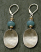 Brushed sterling oval cup drop from amazonite earring.  Sterling leverback hook.
