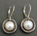 White Pearl in Oxidized Oval and Circle Sterling Cups Earring