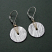 Etched Sterling Disc Wrapped with 14kt Goldfilled Wire Earring.