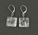 Hammered sterling square drop earring.