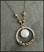 Etched Sterling Ring wrapped in 14kt Goldfilled and Sterling Wire with Hanging White Coin Pearl Necklace