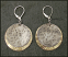 Etched Brass and Hammered and Oxidized Sterling Disc Earring