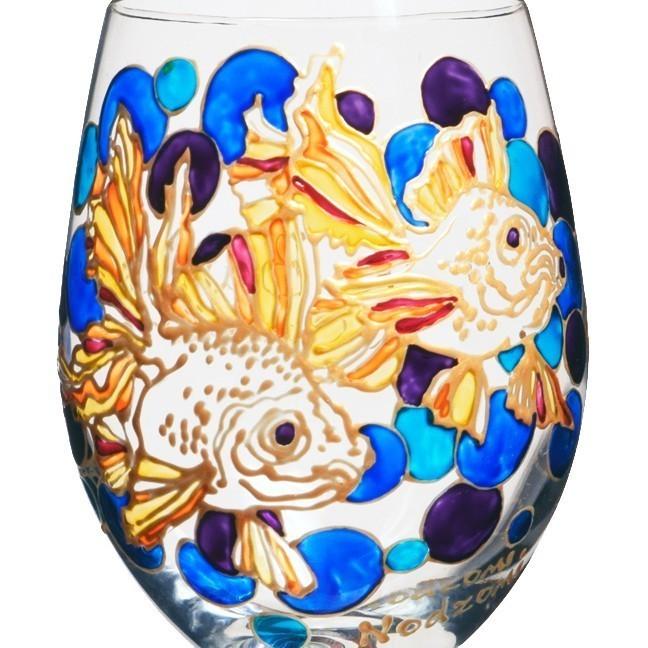 Fancy koi fish wine glass hand painted custom wine for Fancy koi fish