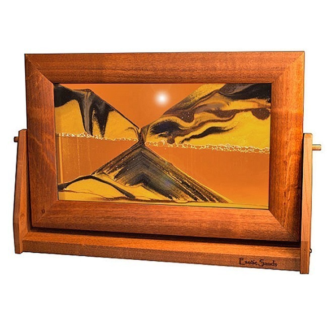 sand art picture sunset orange alder wood frame lg