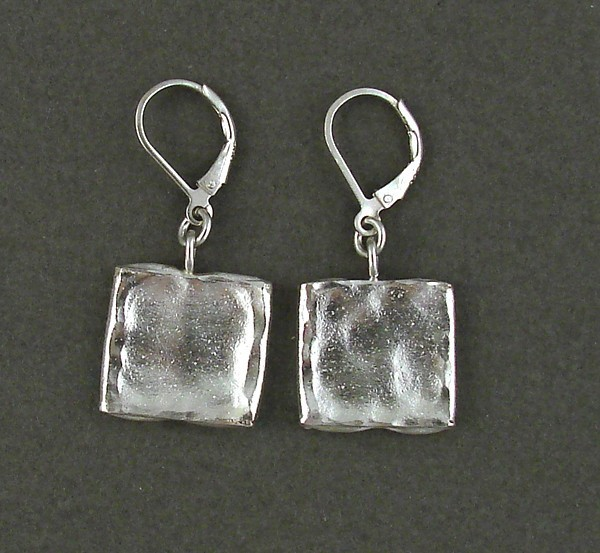Hammered Sterling Square Drop Earring