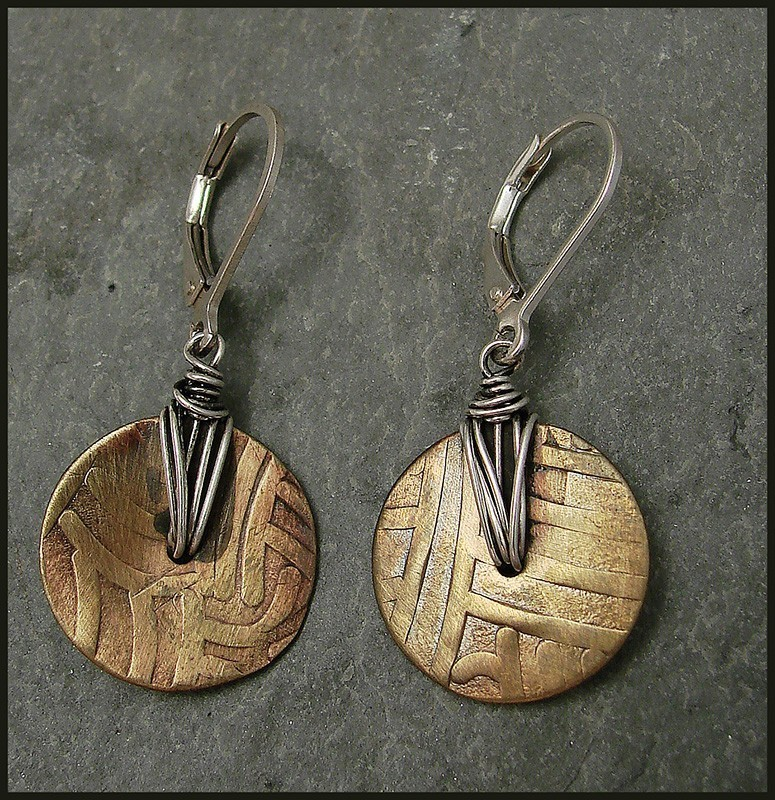 Patterned Brass Disc is Wrapped with Oxidized Sterling Wire Earring