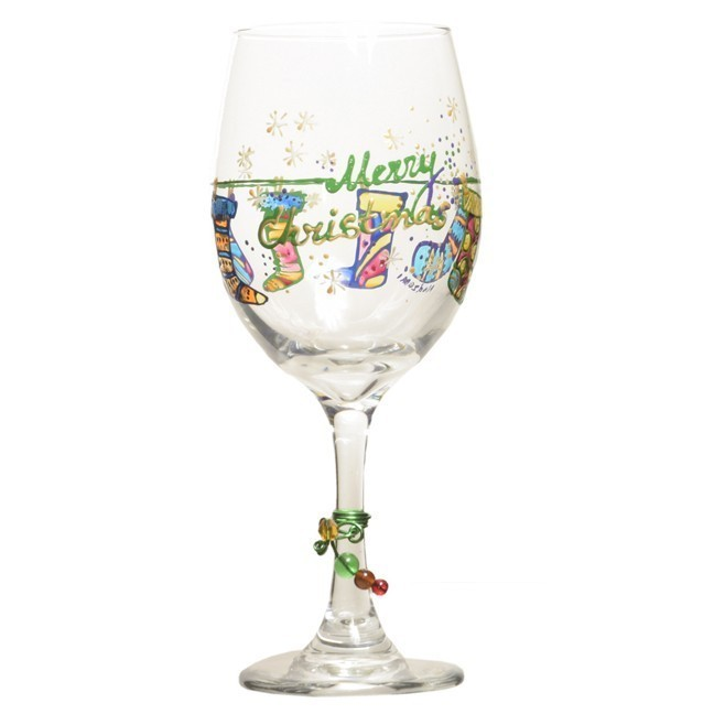 Christmas wine glass w hand painted holiday stockings for Hand painted wine glass christmas designs