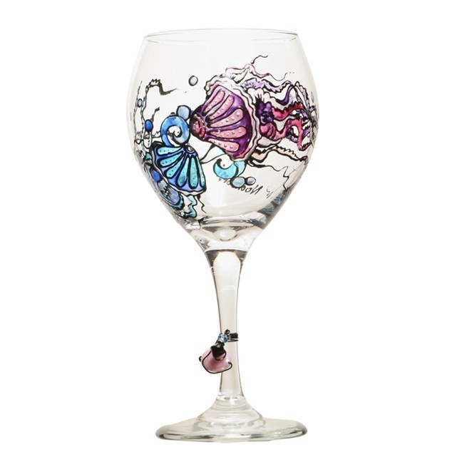 Jellyfish wine glass hand painted free personalization for Hand designed wine glasses