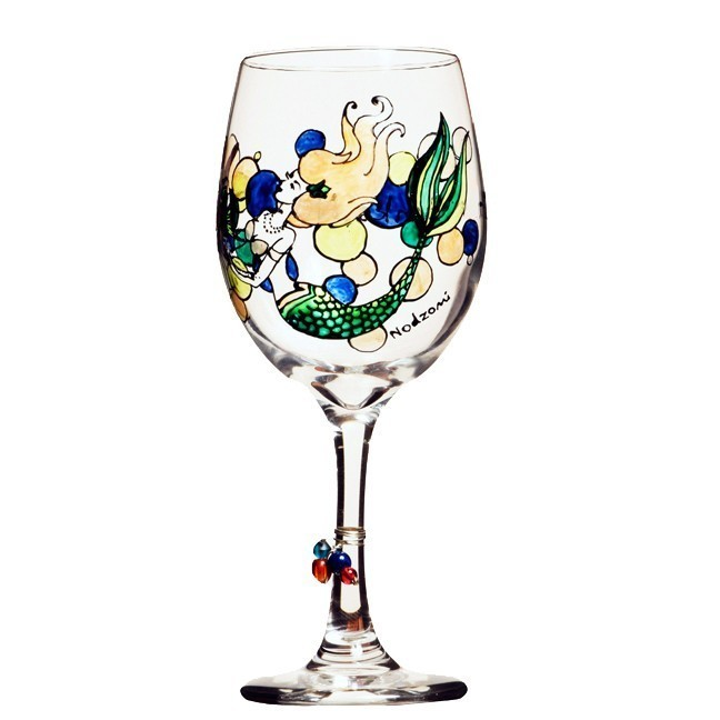Mermaid hand painted wine glass custom wine glasses for Hand designed wine glasses