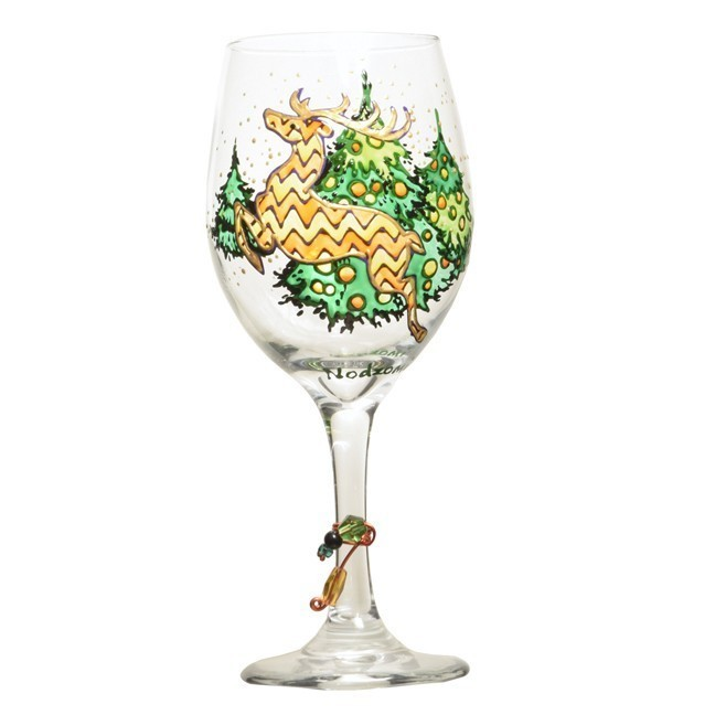 Reindeer wine glass custom wine glasses design for Hand painted wine glass christmas designs