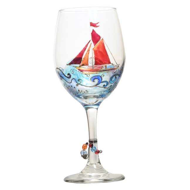 Sailboat hand painted wine glass custom wine glasses for Hand designed wine glasses