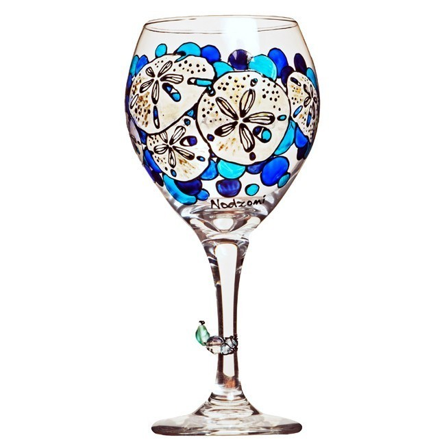 Sand Dollar Wine Glass Hand Painted Custom Wine Glasses