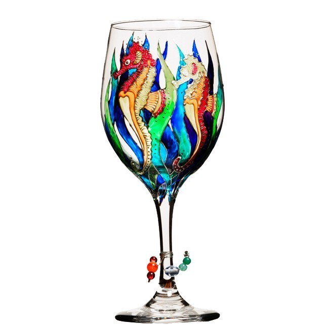 Seahorse hand painted wine glass custom wine glasses Images of painted wine glasses