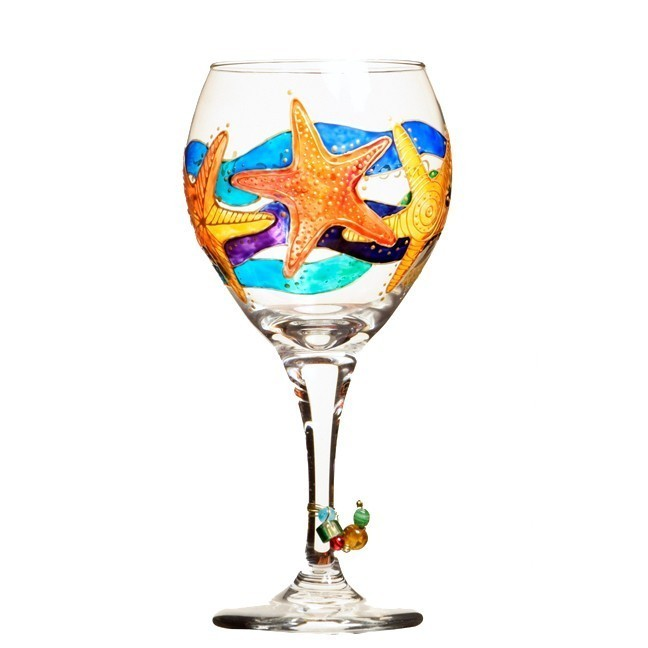 Starfish wine glass hand painted custom wine glasses Images of painted wine glasses