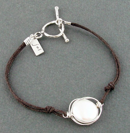Pearl Wrapped in Sterling on Brown Cord Bracelet