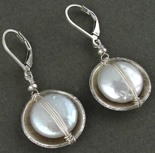 Pearl Cupped in Sterling Bowl Earrings