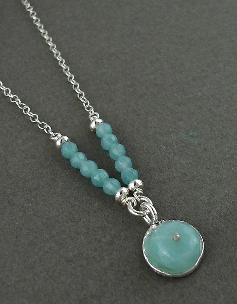Amazonite Drop Sterling Silver Necklace