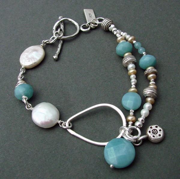 Amazonite & Pearl Sterling Bracelet