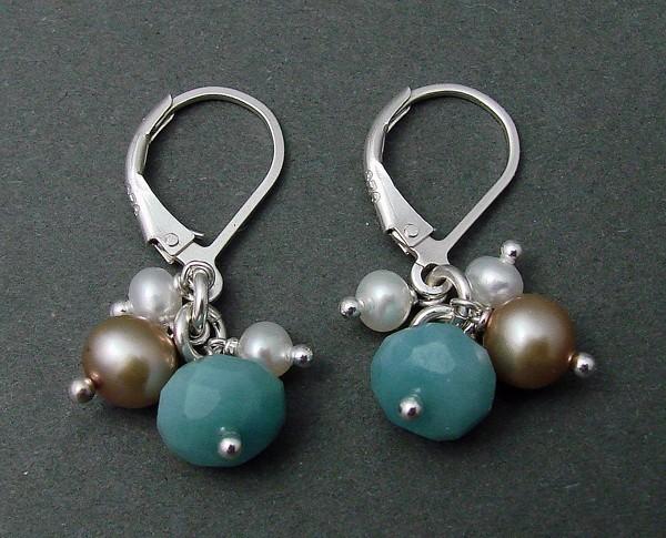 Amazonite, Pearl & Sterling Earring