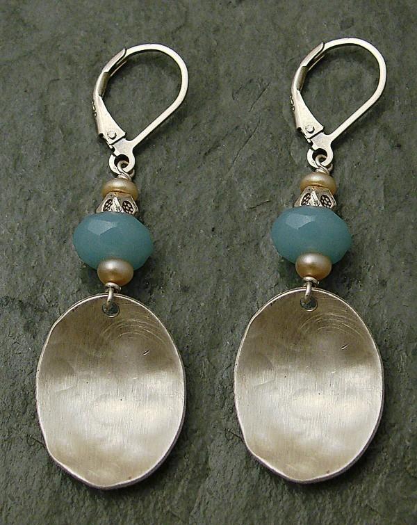 Amazonite & Tan Pearl Brushed Sterling Earring