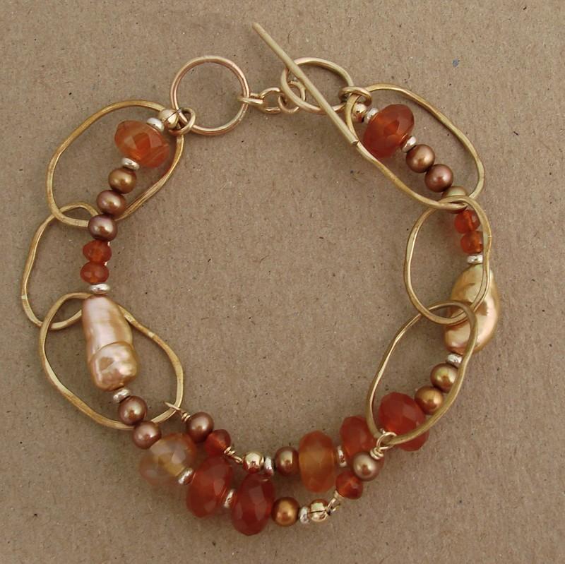 Carnelian, Pearl 14kt Goldfilled Bracelet