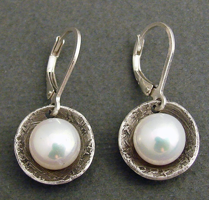 Pearl in Oxidized Sterling Cups Earring