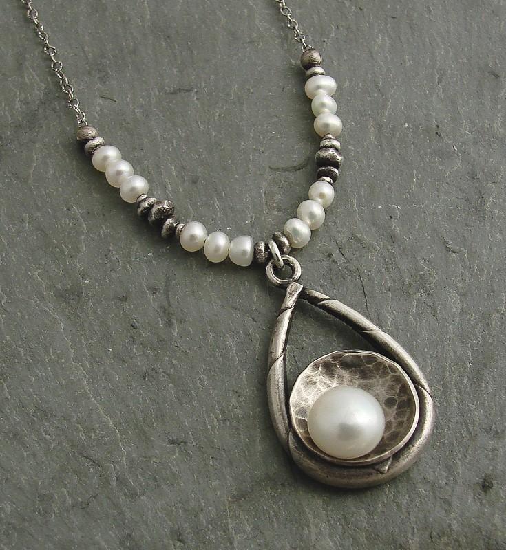 Pearl on Sterling SilverTeardrop Necklace