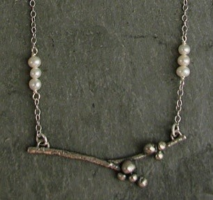 Pearl Accented Sterling Branch Necklace