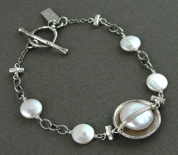 Pearl Sterling Wrapped Bracelet