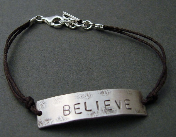 Sterling 'BELIEVE' on Brown Cord