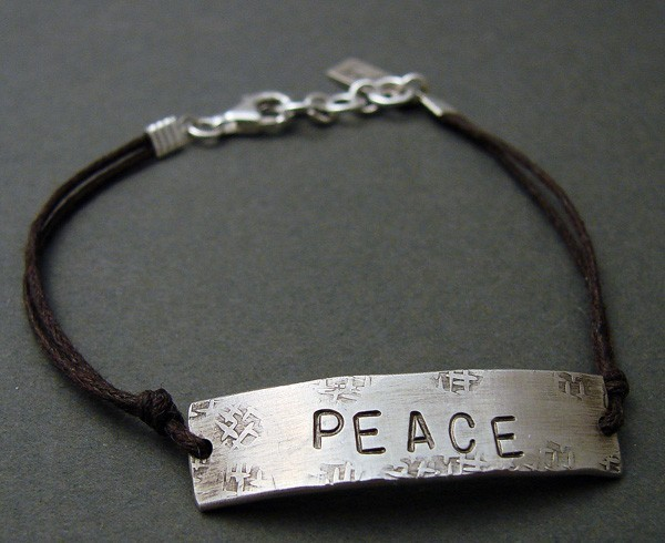Sterling 'PEACE' on Brown Cord