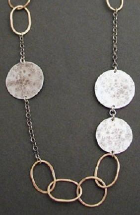 Sterling Disc & 14kt Goldfilled Link Long Necklace