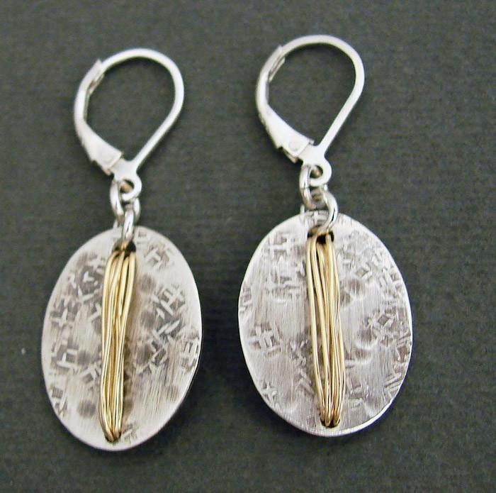 Sterling Oval w/ 14kt Goldfilled Wire Wrap Earring
