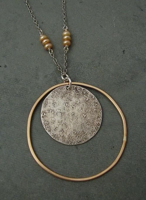 Sterling Disc w/ 14kt Goldfilled Large Hoop Necklace