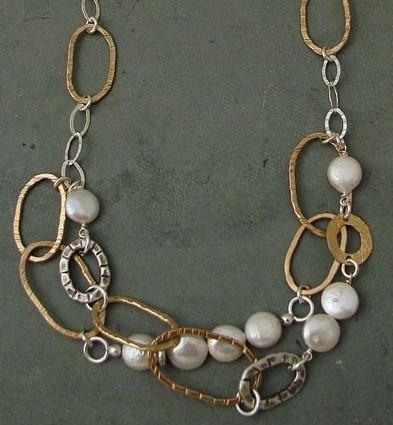 Pearl Sterling & 14kt Goldfilled Oval Necklace
