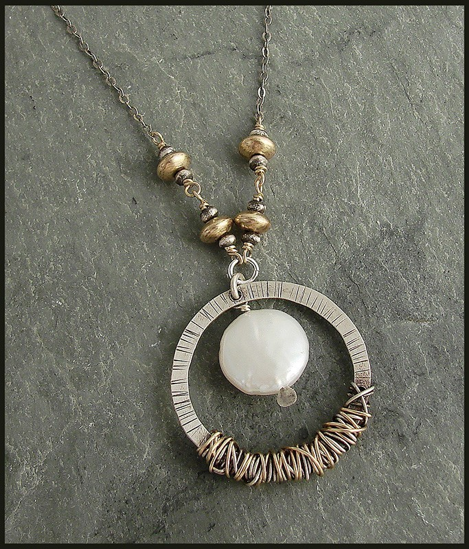 Pearl Sterling & 14kt Goldfilled wrapped Ring Necklace