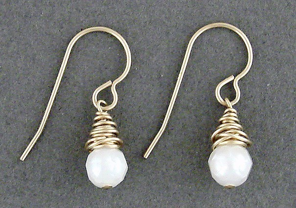 Pearl 14kt Goldfilled Wire Wrapped Earrings