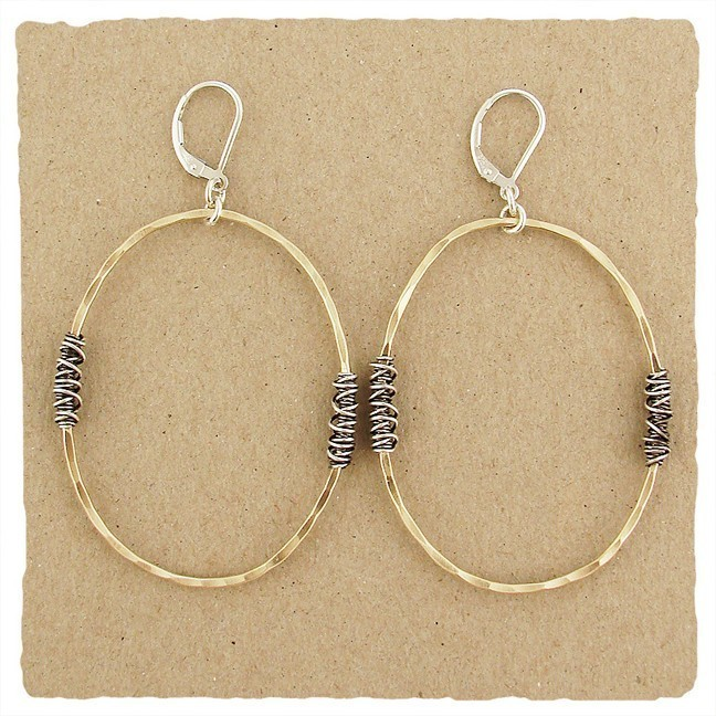 14kt Goldfilled Oval w/ Oxidized Wire Wraps Earring