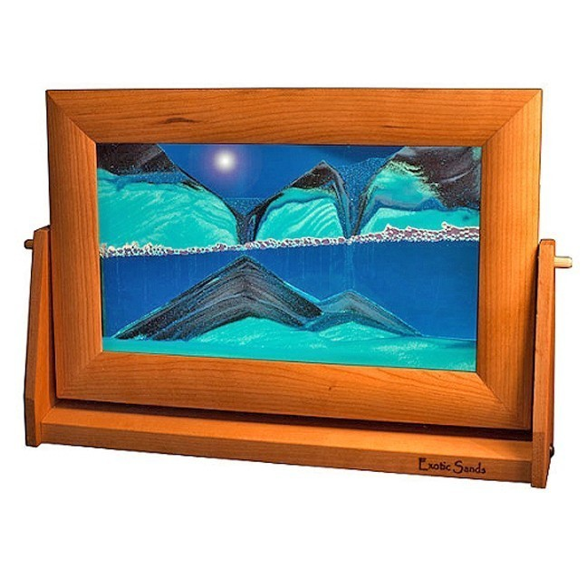 Cherry Wood Moving Sand Pictures Ocean Blue Lg.