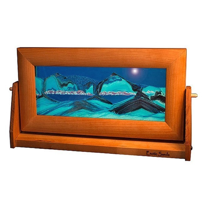 Cherry Wood Moving Sand Pictures Ocean Blue Med